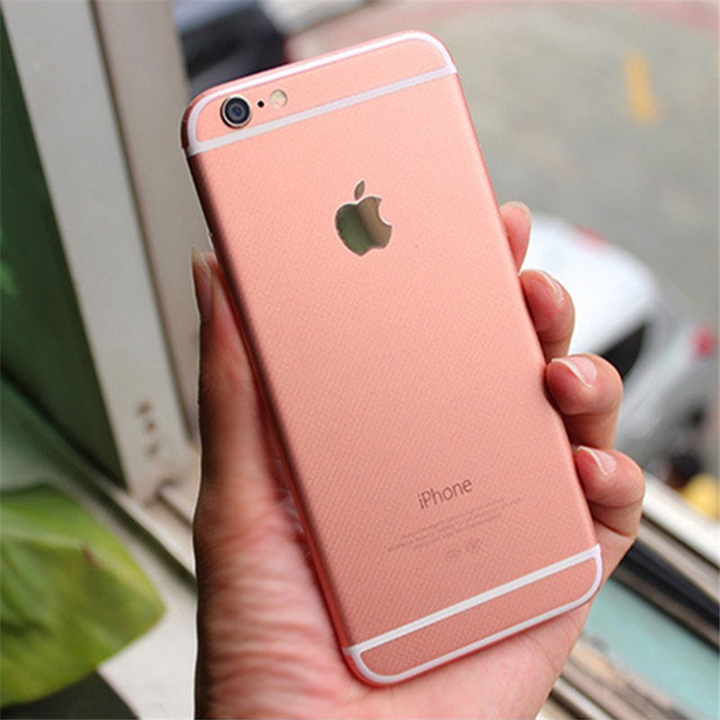 DIY Rose Gold Sticker Case Cover 3M Back Rear Sticker Coque for Iphone 6 6s Plus I6 6plus Logo Cut Out + HD Screen Protector(China (Mainland))