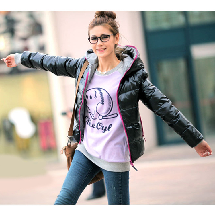 2014 New Fashion Glossy Winter Fall Warm Coat Women Coat Korean Slim Long-sleeved Hooded Jacket Coat Free Size D