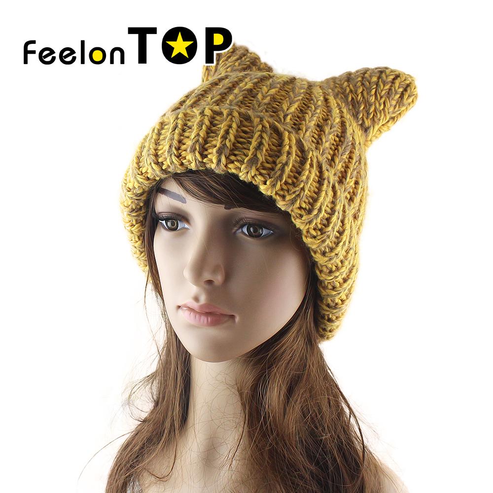Cute Bear Ear Knit Hat Autumn Warm Winter Ear Cap Female Tide Hats 4 Colors Warm Gift(China (Mainland))