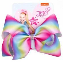 "8 ""JoJo קשתות ילדה שיער קליפ עבור בנות ילדים בעבודת יד מטאלי מודפס סרט קשר ג 'מבו JOJO סיווה גדול שיער bow שיער אבזרים(China)"