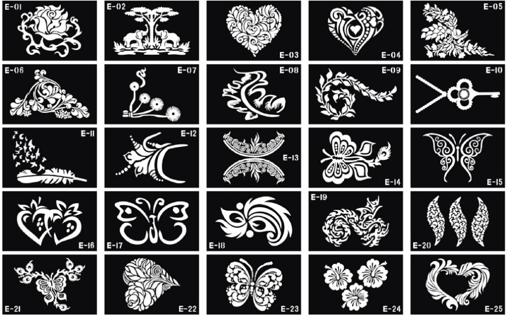 10 sheets Tattoo Template Temporary Body Painting Tattoo Stencil Large Size 15x12cm Mix Dedicated Patterns(China (Mainland))