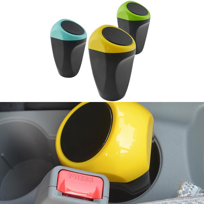 Car styling auto piccola molla portatile copertura spazzatura scatola spazzatura pattumiera di plastica accessori interni di alta qualità(China (Mainland))