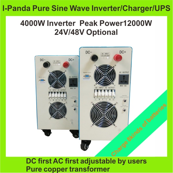Stock Homeuse Brandnew LCD pure sine wave inverter 4000W 4KW DC48V to AC220V power inverter charger UPS peak power 12000w(China (Mainland))