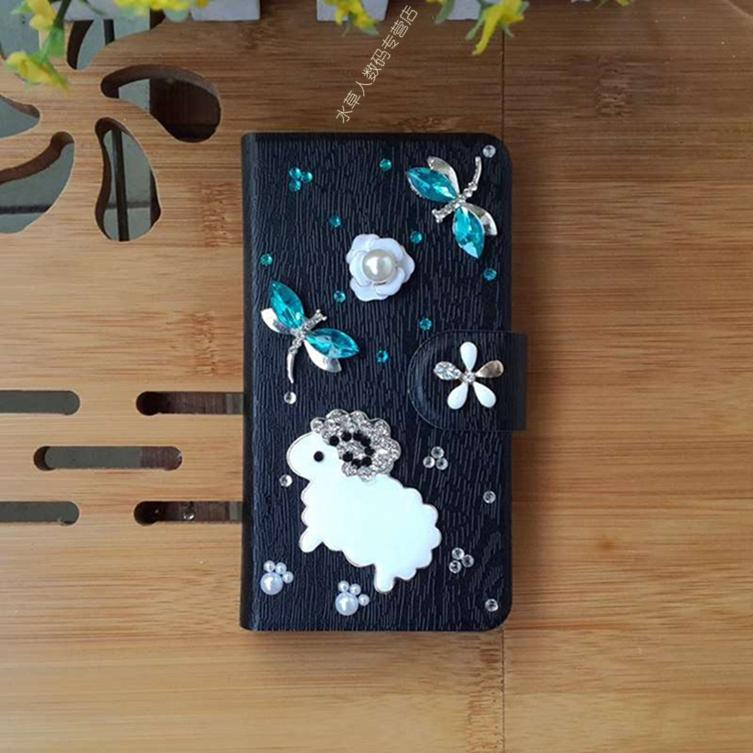 Sell Like Hot Cakes Dragonfly Sheep Card Slot PU Leather Flip Case Cover For Samsung GALAXY W Exhibit II i8150 T679(China (Mainland))