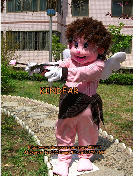 Angel Eros Cupid Mascot Costume Cartoon Adult Size Character Mascotte Outfit Suit No.2495 Free Ship(China (Mainland))