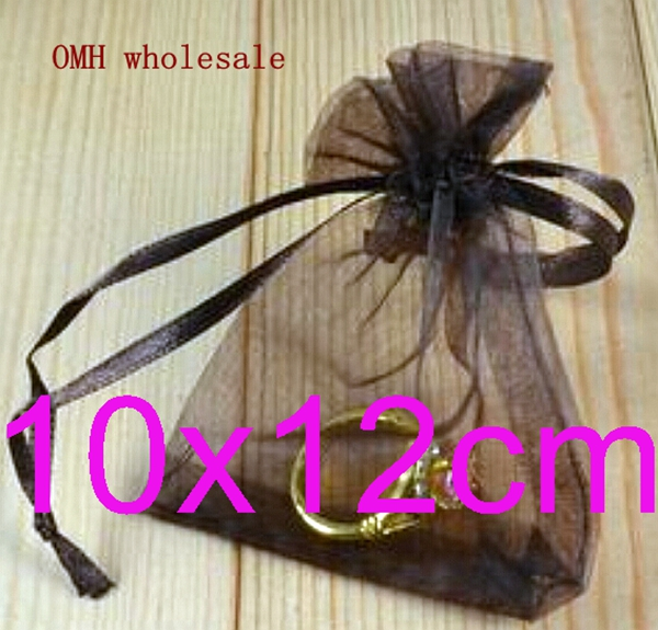 OMH 10x12cm 10black color Jewelry festival wedding Christmas voile organza Packaging gift bags BZ03 - Bead store