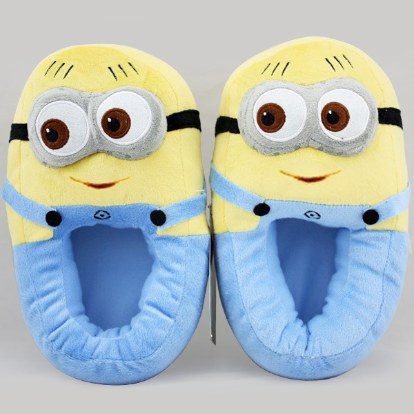 2014 Despicable Me Minion stewart on tooth Monsters Cosplay Adult Lady Slippers Plush Toy Shoes hot sale(China (Mainland))