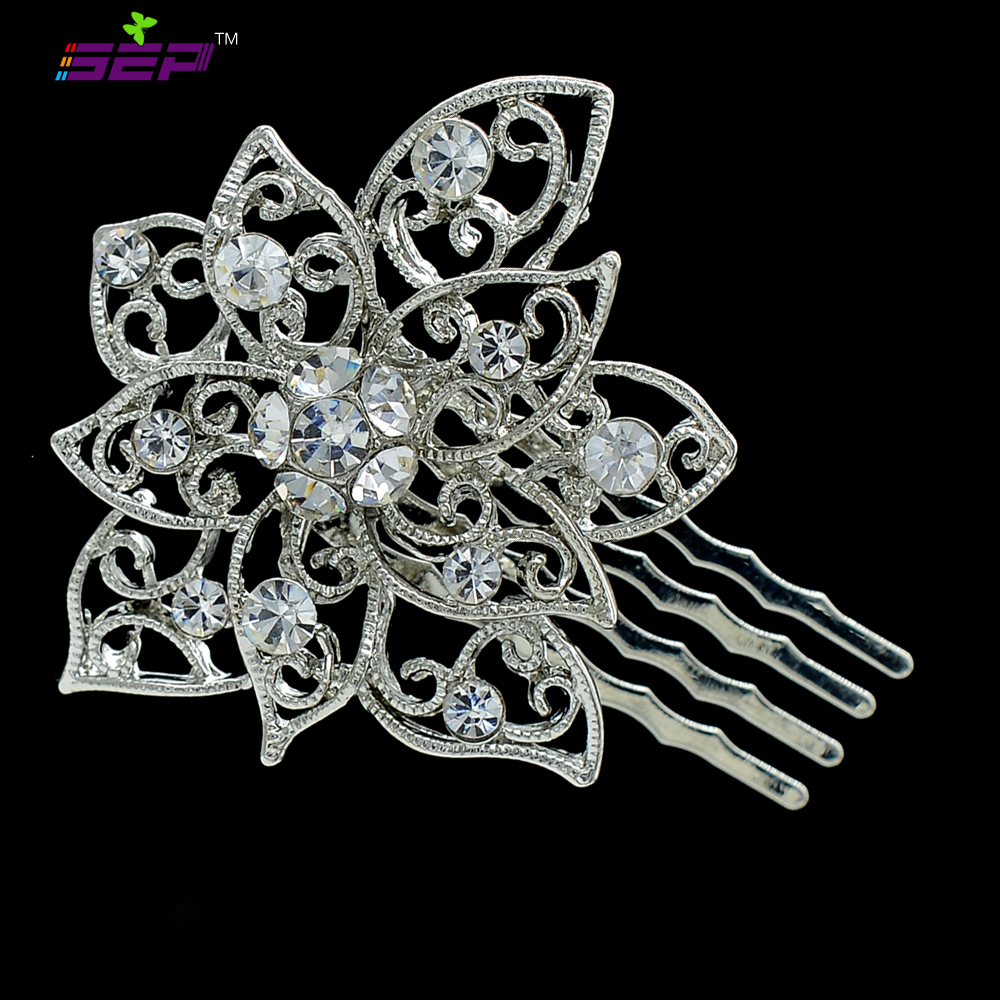 Silver Flower Hairpins Comb Headband Wedding Jewelry Bridal Hair Accessories Free Shipping Rhinestone Crystal For Women XBY035(China (Mainland))
