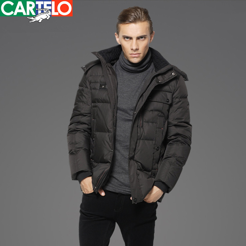 Hot Sale CARTELO Business Casual Conventional Hooded 90% Gray Duck Down Men's Medium Long Sections Thick Coat/Elderly Outerwear(China (Mainland))