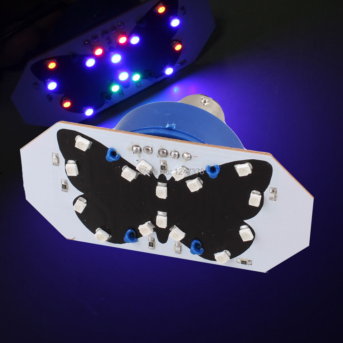BAY15D 1157 12 Colorful Butterfly Pattern LED 1210 SMD Stop Third Brake Light Cornering Light Courtesy Side Marker Turn Signal(China (Mainland))