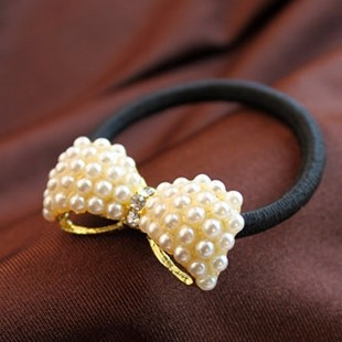 Free Shipping Mini $10 R022 Fashion Wild sweet little pearl bow hair band / hair rope / hair brush H021(China (Mainland))
