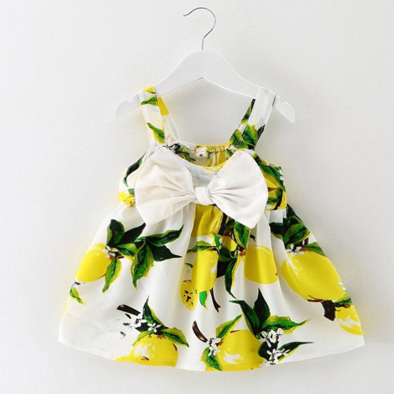 2016 New Baby Dress Infant girl dresses Lemon Print Baby Girls Clothes Slip Dress Princess Birthday Dress for Baby Girl(China (Mainland))
