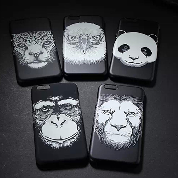 New Hot Animal Head black Phone case for iphone 6 4.7 inch for 6 plus 5.5 inch Super Cool TPU Cover free shipping(China (Mainland))