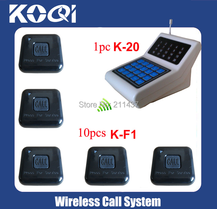 Coffee shop Popular design Call System K-20 display +10pcs K-F1 100% water-proof buttons electronic call bell for restaurant(China (Mainland))