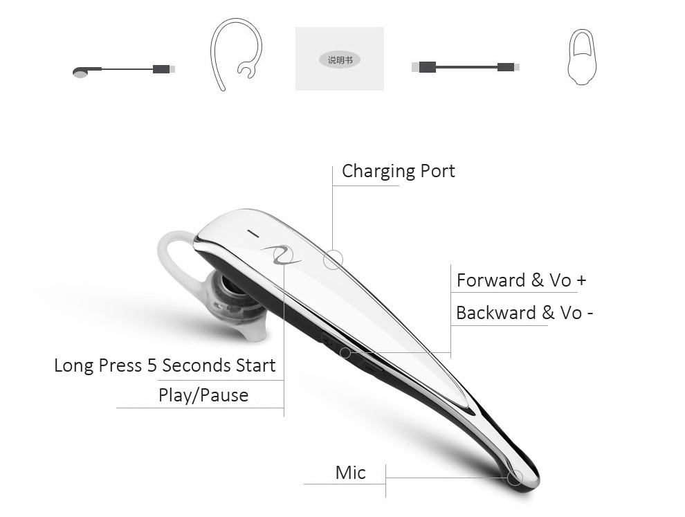Fashion Wireless Stereo Voice Prompts Bluetooth Headset