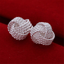 Trendy tennis stud earrings for women classic silver plated jewelry accessories romantic weddings party gifts bijoux CE013