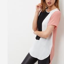 New Fashion Boyfriend Style Plus Size 6XL 2016 Summer Patchwork Chiffon Shirt Blusas Women Blouses XXXXL 5XL Casual Office Tops(China (Mainland))