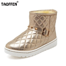 Buy Russian Women Winter Warm Fur Ankle Boots Woman Fashion Rivets Buckle Style Shoes Feminine Round Toe Flat Snow Botas Size 34-39 for $21.68 in AliExpress store