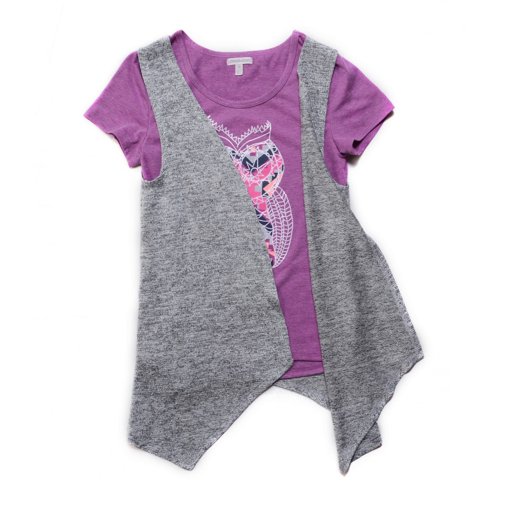Graphic Kids Clothes For Girls Clothes 2 Piece Set T-shirt And Vest Top 2017 New Design Toddler Girl Children Clothing Set(China (Mainland))
