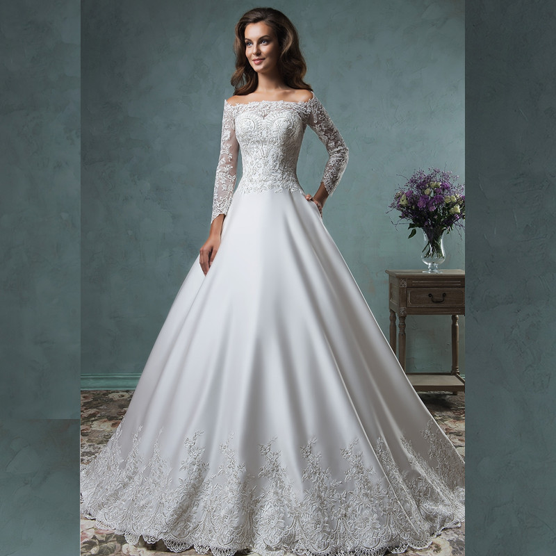 Graceful 2016 new sexy charming long sleeve white beaded for Satin and lace wedding dresses