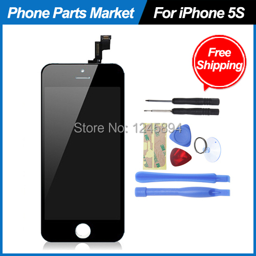 100% Original LCD Display Touch Screen with Digitizer Assembly Replacement Full Set Complete Kit for iPhone 5S Black,Free Ship(China (Mainland))