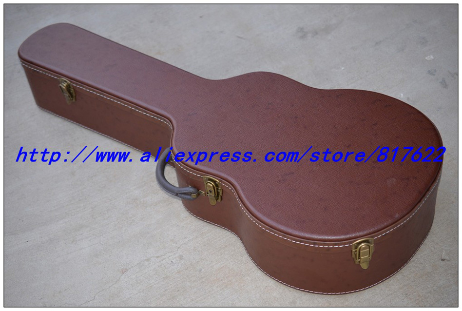 Guitar hard case - brown color with black lining inside  for jazz L-5 style guitar, free add LOGO, not sold separately<br><br>Aliexpress