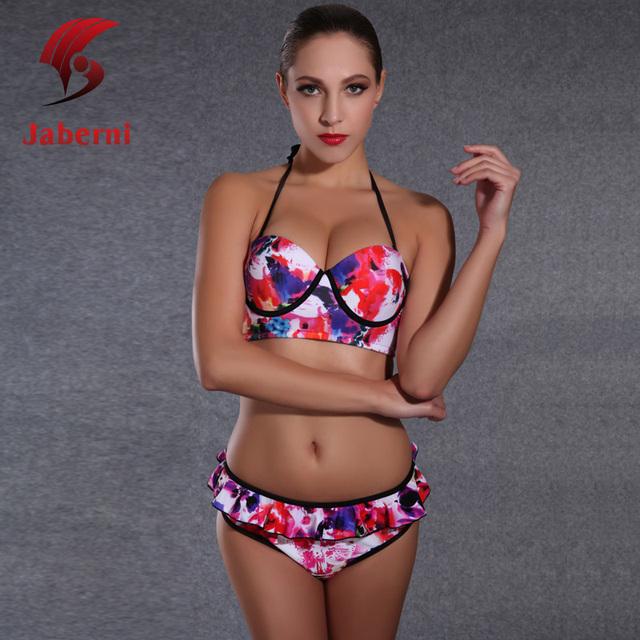 Jaberni марка Tie Dye купальники оборками пляжная одежда досуг печать женщин комплект бикини подколоть дамы сексуальный летом купальник