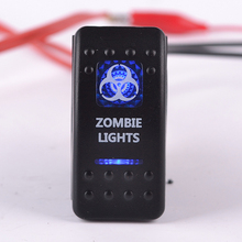 12v 20a bar zombie push button rocker switch 5Pin blue led light waterproof car boat truck rv universal switchs - JuFengHengShun Store store