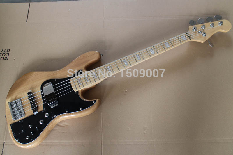 Electric Bass Guitar, Marcus Miller, Ash Body,Bullet Truss Rod, 5 Strings, Natural, High Quality(China (Mainland))