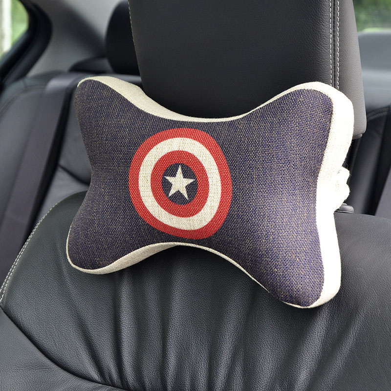 American captain Car headrest neck pillow Cartoon Car head back support cushion flax fabric space memory foam seat cover(China (Mainland))