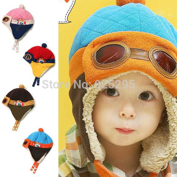 Hot sales Toddlers Cool Baby Boy Girl Kids Infant Winter Pilot Aviator Warm Cap Hat Beanie(China (Mainland))