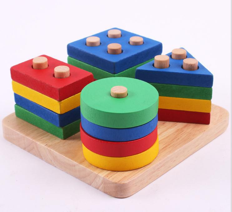 Early Childhood Educational Toys : Wooden educational toy geometry intelligence board