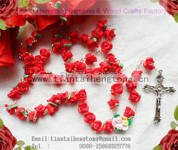1pcs/set Handmade catholic Rosary necklace beautiful red Soft Cerami beads rose rosary catholic crucifix Necklace free ship(China (Mainland))