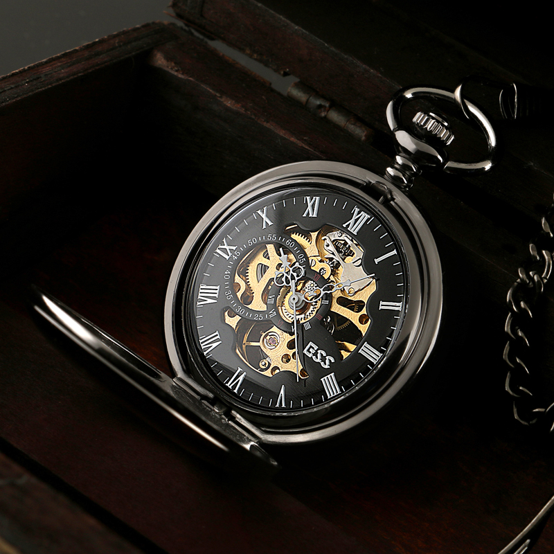 ESS Men Elegant Stainless Steel Case Hand-Wind Up Mechanical Pocket Watch Gift Chain Watches WP118-ESS(Hong Kong)