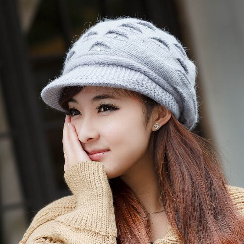 Hat female winter autumn and winter knitted hat female rabbit fur knitted hat ear cap protector cold warm female outdoor fur cap(China (Mainland))