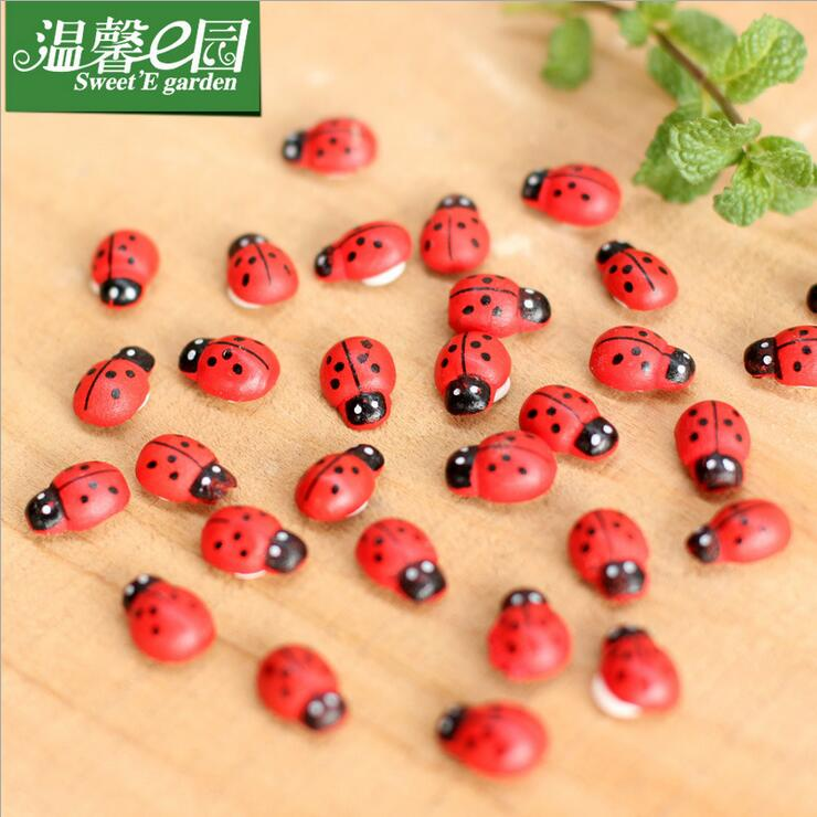 10 piece More meat micro landscape ornaments accessories ornaments ornaments wood crafts Ladybird Beetle Coccinella(China (Mainland))