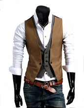 Men's Fashion Black Vest For Suit Two Pieces Cotton Camel Vests For Suits Styling Menswear Camel 2 Colors Brand Design(China (Mainland))