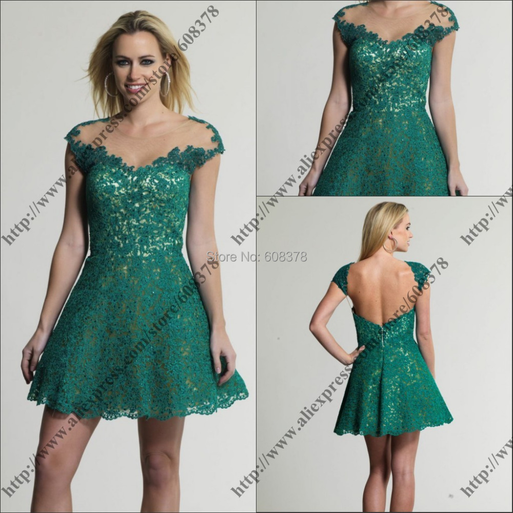 2014 new arrival short sleeve prom dress emerald green