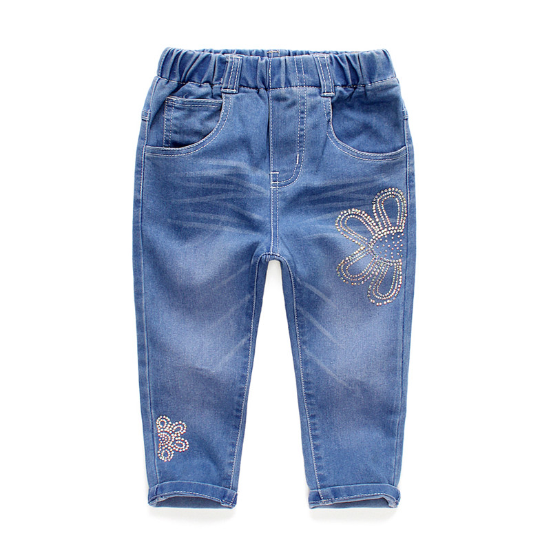2T to 6T children girls hot fix diamond denim jeans pants kids girl straight fall spring casual long jeans trousers clothes(China (Mainland))