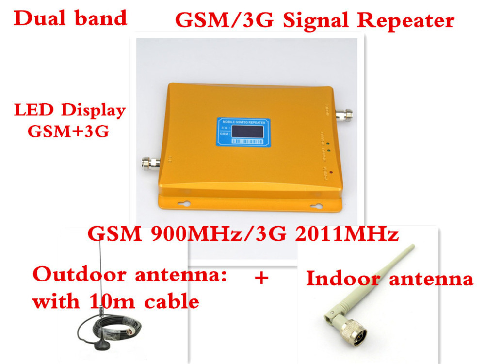 Newest 2G 3G LCD Signal booster ! GSM 900 GSM 2100 Mobile Phone Booster Amplifier 3G GSM Repeater + antenna 1 set(China (Mainland))