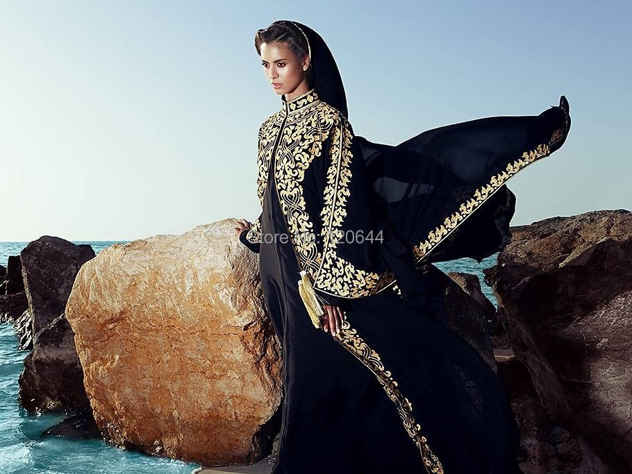 Elegant Arabic Evening Dress Black Chiffon Beaded Applique Long Sleeve Dubai Kaftan Dresses Gowns Vestido De Festa - SuZhou Kamaliya Love Store store