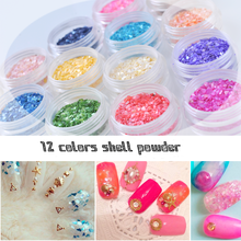 Buy 12 Colors Crushed Shell Powder 3D Nail Art Decoration Rhinestones Nails Gel Polish Nail Art Charms Nail Glitter for $2.24 in AliExpress store