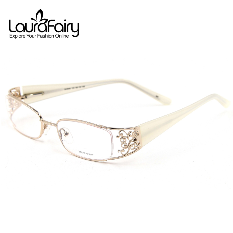 gold optical frames high quality carved eyeglasses women optical glasses frame stainless steel acetate temple spring arm eyewear