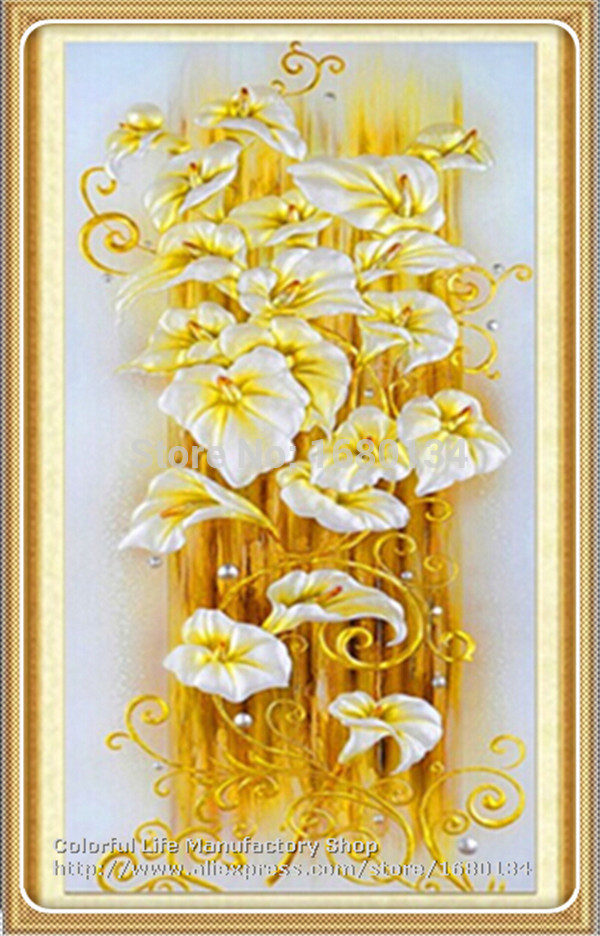 DIY 5D Diamond embroidery Lily Flowers 3D Cross Stitch Round Stone needlework diamond painting hand resin craft for home decor(China (Mainland))