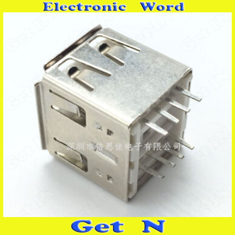 100pcs   AF Type 10mm Dual USB 2.0 Female Socket Vertical 2.0USB Power Connectors<br><br>Aliexpress