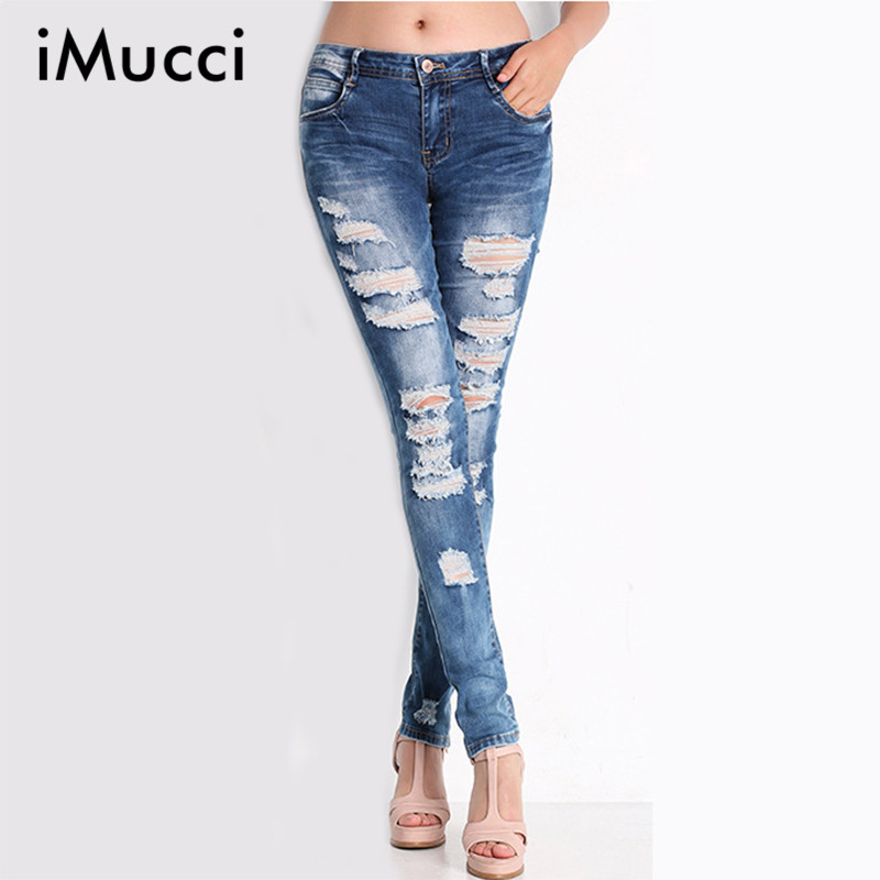 2016 New Fashion Ripped Jeans Women High Waist Softener Full Length Skinny Jean Woman Hole Washed All Match Denim Pants S-2XL(China (Mainland))