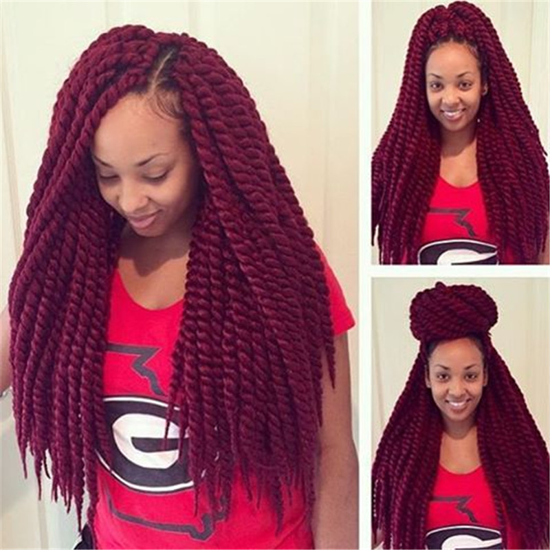 Crochet Braids Red Hair : ... synthetic hair wine red braid havana mambo twist braiding crochet hair