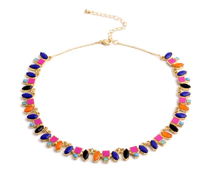 Woman Decoration Fashion Irregular Imitation Gemstone Pendant Female Jewelry Necklace Girl International Brand 2015 Exaggeration(China (Mainland))