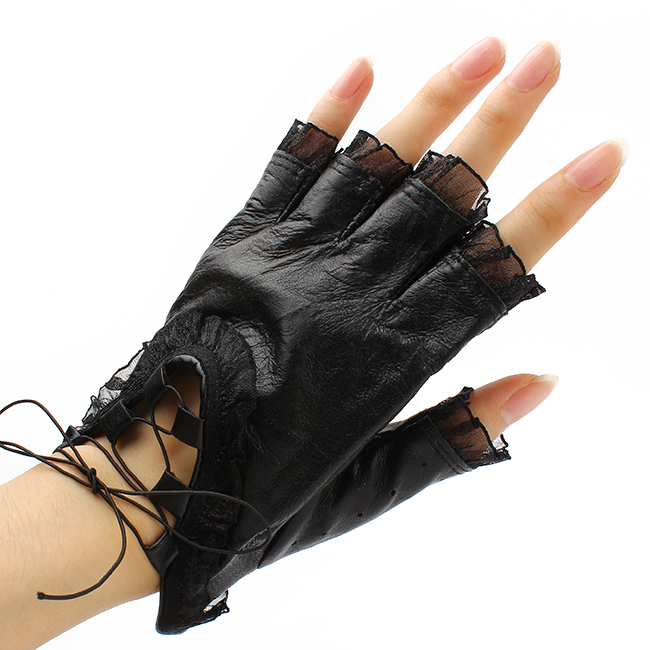 2015 Fashion Lady Spring Lace Half Finger Leather Gloves Women Dance Party Black Gloves Mittens(China (Mainland))