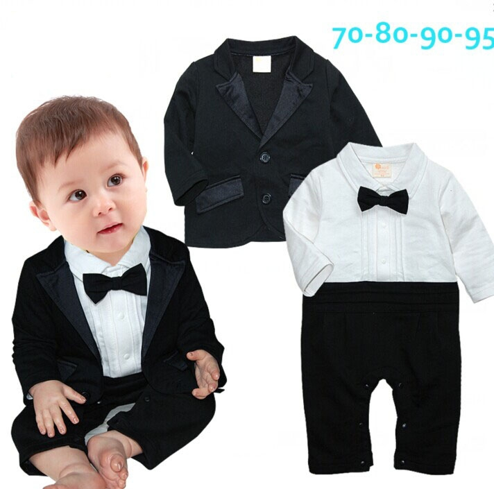 2015 Toddlers baby boy set gentleman Bow ties rompers +Jackets infants 2 pcs suit Birthday party clothing costumes set 721A(China (Mainland))